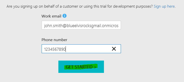 Dynamics 365 Trial Instance Signup Form